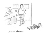"""Man notices mice in convertable with sign """"Just Married"""" on the bumper goi… - New Yorker Cartoon"""