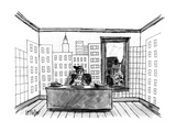 A farmer sitting in his office  wallpapered with a depiction of an urban s… - New Yorker Cartoon