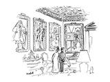 A man & a woman stand in an ornate room 13 in 18th century costume  one of… - New Yorker Cartoon