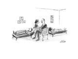 Two therapists each with patient on couch sit on opposite sides of love se… - New Yorker Cartoon