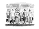 Chef with hat and lobster trap on subway stop with businessmen with briefc… - New Yorker Cartoon
