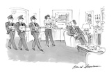Wife confronts husband in living room with three men delivering boxes of i… - New Yorker Cartoon