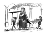A king walking  smoking a cigar One boy attendant behind him carries his … - New Yorker Cartoon