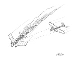 """Charisma"" plane in flames as ""Panache"" plane shoots it down - New Yorker Cartoon"