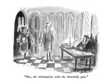 """Sire  the triviameister with the bimonthly quiz"" - New Yorker Cartoon"