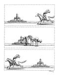 3 panel drawing A headless horseman gallops up to a roadside pumpkin stan… - New Yorker Cartoon