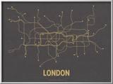 Plan de Londres, Grande-Bretagne : jaune moutarde sur gris sombre - réseau de transports Reproduction encadrée par Line Posters