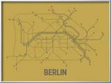 Plan de Berlin, Allemagne : gris acier sur ocre - réseau de transports Reproduction encadrée par Line Posters