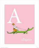 A is for Alligator (pink) Reproduction d'art par Theodor (Dr. Seuss) Geisel
