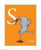 S is for Seal (orange) Reproduction d'art par Theodor (Dr. Seuss) Geisel