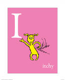 I is for Itchy (pink) Reproduction d'art par Theodor (Dr. Seuss) Geisel