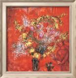 Fleurs Sur Fond Rouge  c1970