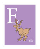 E is for Elk (purple)