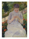 Young Woman Sewing in the Garden  ca 1880/82