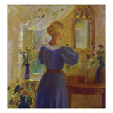 An Interior with a Woman Looking in a Mirror  1900