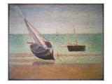 Boote Bei Ebbe Am Strand Von Grandcamp  1885