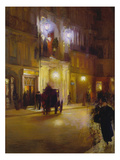 Abendliche Strassenszene Vor Den Folies Bergeres  Paris