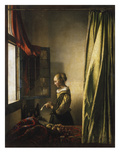 Girl at a Window Reading a Letter  about 1658