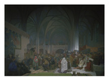 Master Jan Hus Preaching in the Bethlehem Chapel  1414 from the 'slav Epic'  1916