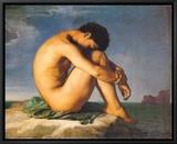 Jeune homme nu assis au bord de la mer (1855) Tableau sur toile encadré par Hippolyte Flandrin