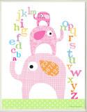 Girl's ABC Pink Elephants Rectangle
