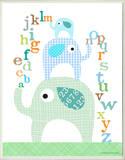 Boy's ABC Blue Elephants Rectangle