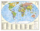 National Geographic - Laminated Kids Political World Education Map (Grades 4-12) Giant Poster