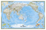 National Geographic - World Classic  Pacific Centered Map Laminated Poster