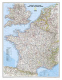 National Geographic - France  Belgium  and The Netherlands Classic Map Laminated Poster