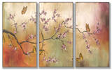 Pink Blossoms and Butterflies Triptych Art