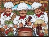 3 Happy Chefs Tableau sur toile par Janet Kruskamp