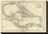 Chart of the West Indies, c.1795 Tableau sur toile par Mathew Carey