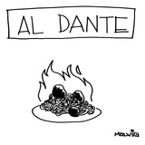 "A plate of spaghetti and meatballs is burning in flames Title: ""Al Dante""… - New Yorker Cartoon"