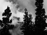 Colorado Mountain Landscape with Trees and Clouds  Sangre De Cristo Range in Black and White