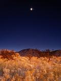 Sandia Mountains Desert Twilight Landscape Moon Rise  New Mexico