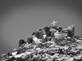 Cross on Top of Sandia Mountain Boulder Mound Landscape in Black and White  New Mexico