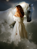 A Young Girl Wearing a White Dress Standing Beside a Horse under the Moonlight