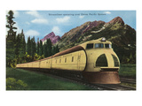 Union Pacific Streamliner Passing Mountains
