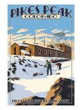 Snow Scene Atop Pikes Peak  Colorado