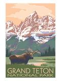 Grand Teton National Park - Moose and Mountains Papier Photo par Lantern Press