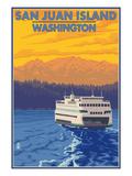 San Juan Island  Washington - Ferry and Mountains