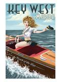 Key West  Florida - Boating Pinup Girl