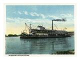 Kansas City  Missouri - View of a Steamer on the Missouri River