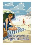 Jacksonville  Florida - Woman and Beach Scene