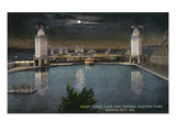 Kansas City  Missouri - Electric Park View of the Lake and Towers at Night