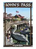 John's Pass  Florida - Pelican and Dock