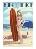 Nauset Beach  Massachusetts - Pinup Girl Surfing