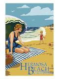 Hermosa Beach  California - Woman on Beach