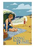Long Beach  California - Woman on the Beach