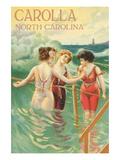 Carolla  North Carolina - Beach Scene with Three Ladies in Swim Attire in Water